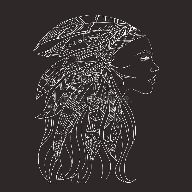 Plemienny indyjski kobieta tatuaż i koszulka projekt Rodowity Amerykanin kobiety tatuażu sztuka Etniczny dziewczyna wojownik ilustracja wektor