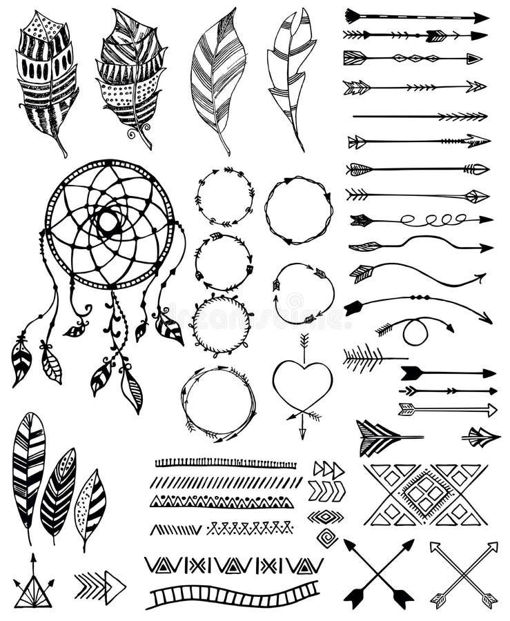 Plemienny juczny ikona set, wektorowa nakreślenie ilustracja royalty ilustracja