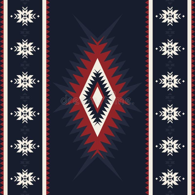 Plemienny kilim, abstrakcjonistyczny geometryczny ornament, etniczny bezszwowy patte ilustracji
