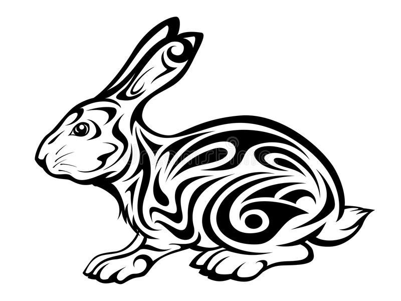 plemienny królika tatuaż ilustracja wektor