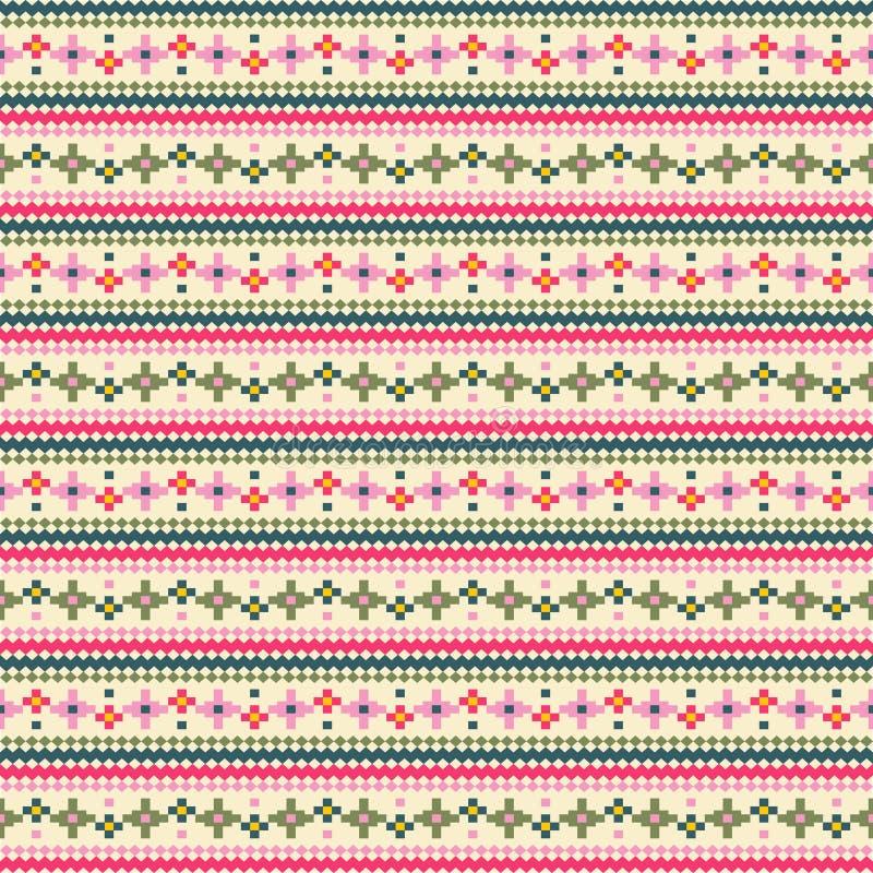 Plemienny kwiat paskuje bezszwowego wzór, etniczny stylowy wektorowy illu ilustracji