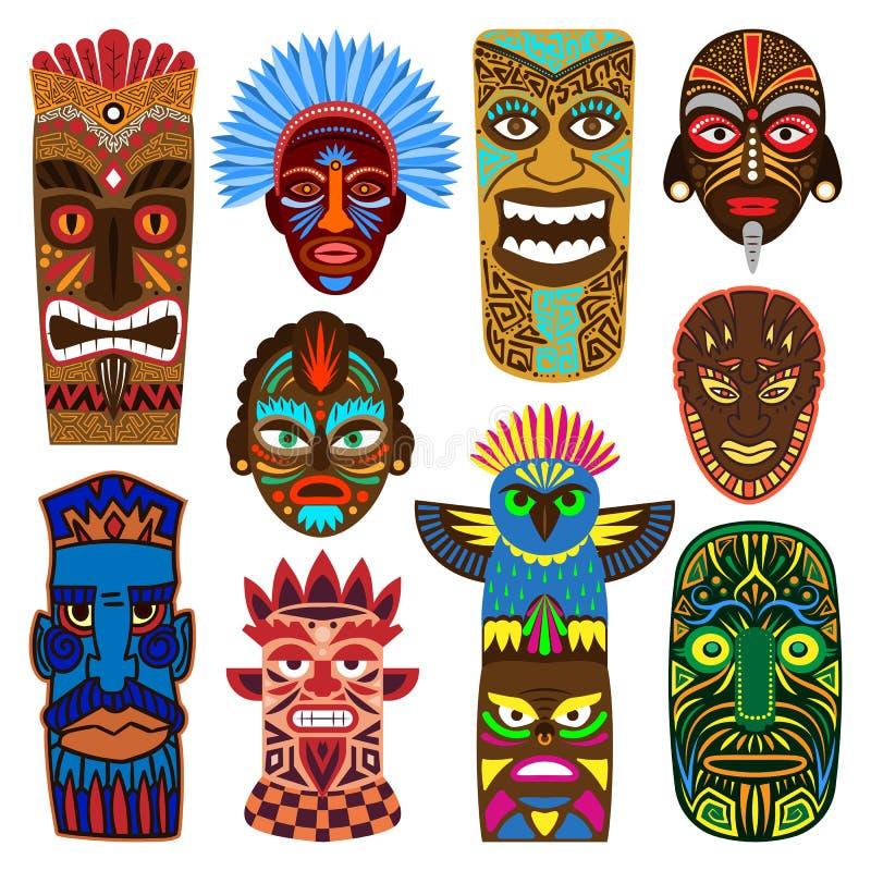 Plemienny maskowy wektor maskuje etniczną kulturę i aztec twarzy masque ilustracyjnego ustawiających tradycyjny aborygen maskował royalty ilustracja