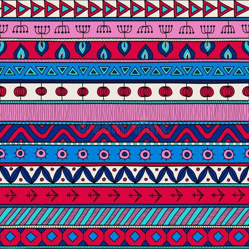 Plemienny multicolor bezszwowy wzór, hindus lub afrykański etniczny patchworku styl, royalty ilustracja