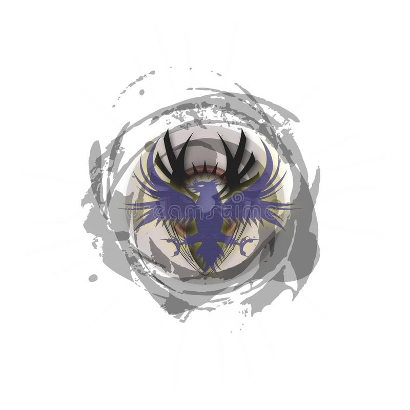 Plemienny Niespokojny zmrok - błękitny Phoenix logo royalty ilustracja