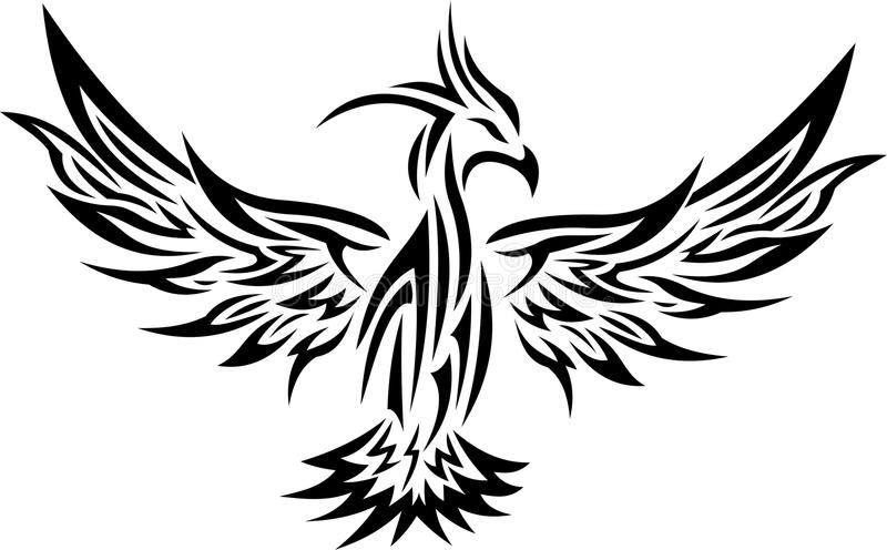 Plemienny Phoenix tatuaż 2 ilustracja wektor