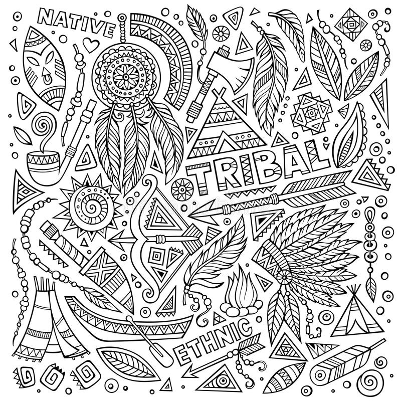 Plemienny rodzimy ustawiający symbole ilustracja wektor
