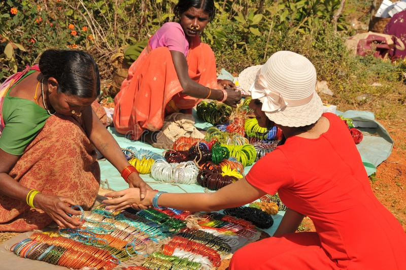 Plemienny rynek Arak dolina, Vishakhapattnam, India zdjęcie stock