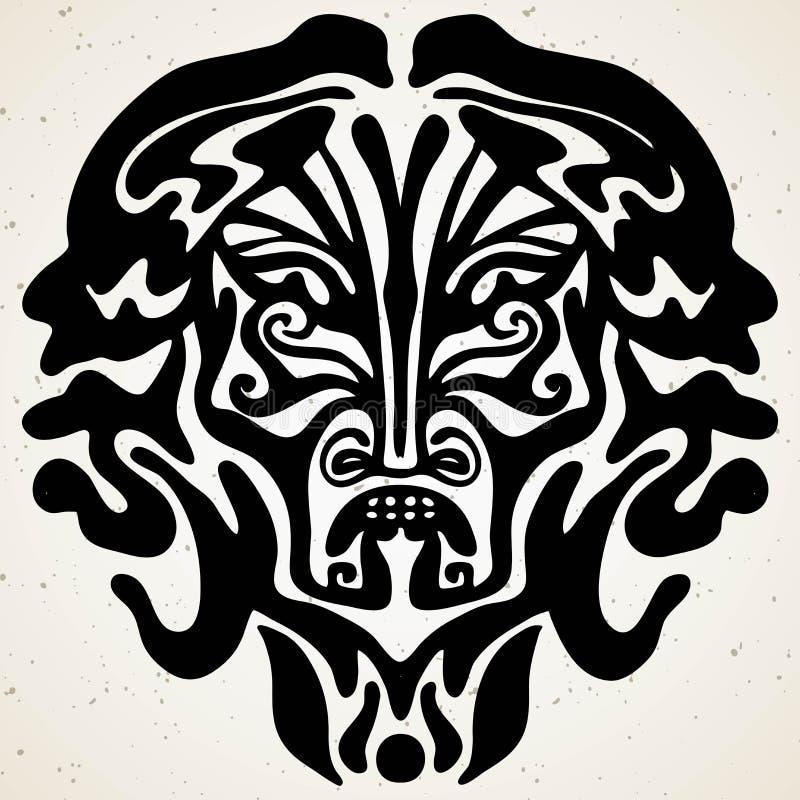 Plemienny Bóg Z Alfa I Omegi Symbolu Wektoru Ilustracją