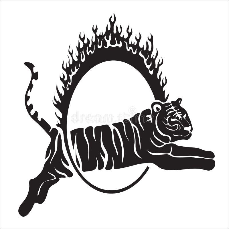 Plemienny tygrysi skacze wektorową kontur ilustrację zdjęcie royalty free