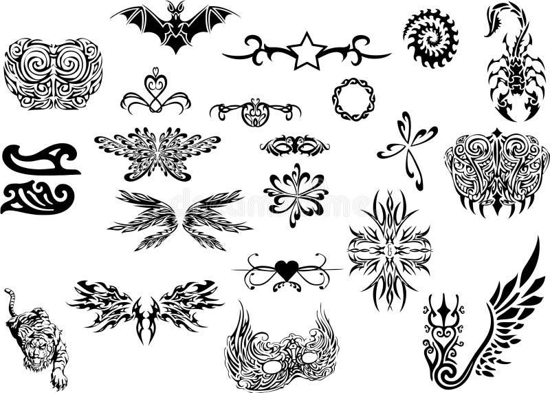 plemienny ustalony tatuaż ilustracja wektor