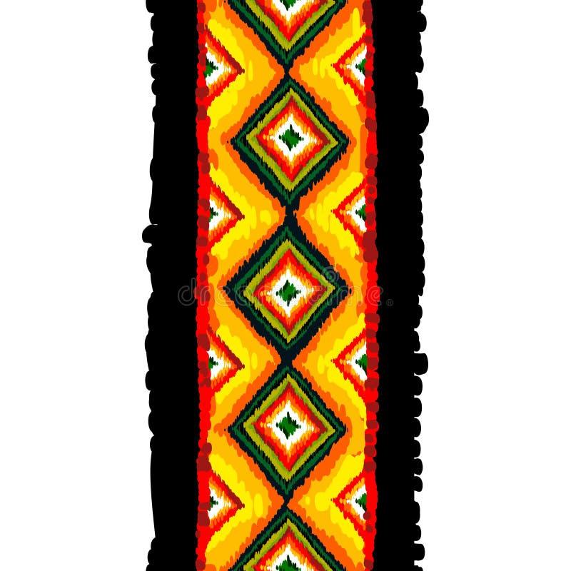 Plemienny wektorowy bezszwowy wzór abstrakcjonistyczny tło rysująca ręka royalty ilustracja