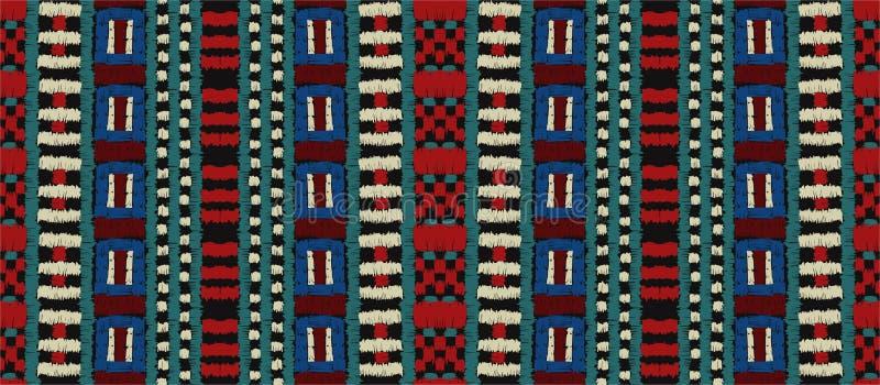 Plemienny wektorowy ornament afrykanina bezszwowy deseniowy Etniczny dywan z szewronami Azteka styl ilustracja wektor