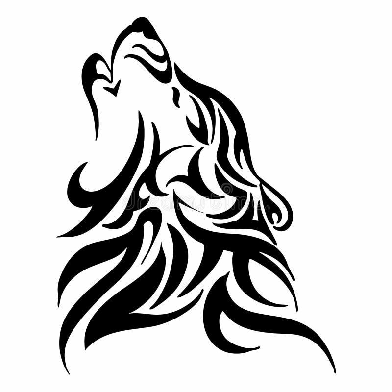 Plemienny wilczy wycie głowy tatuaż ilustracji