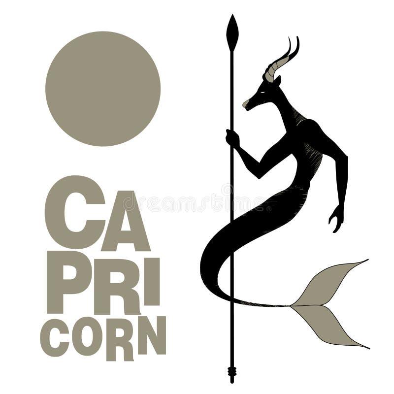 plemienny zodiak capricorn Zwierzęca przyrodnia męska kózka, połówki ryba, rogi i ludzkie ręki trzyma dzidę, royalty ilustracja