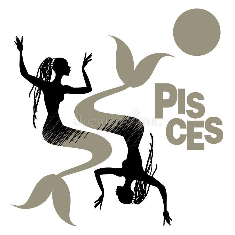 plemienny zodiak pisces Dwa kobiety z rybim ogonem lub syrenki, dłudzy dreadlocks dekorowali z perłami royalty ilustracja