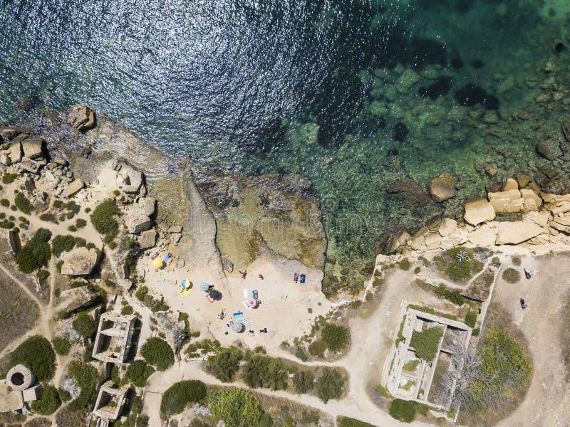 Plemmirio风景海岸线鸟瞰图在西西里岛 库存图片