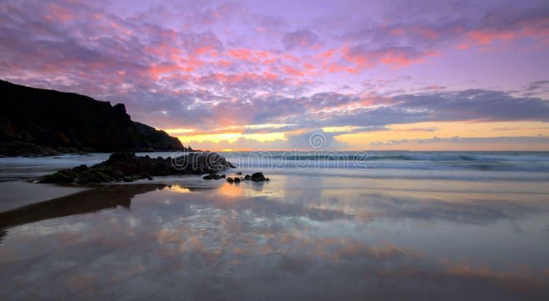 Plemont海滩在泽西,海峡群岛 免版税库存照片