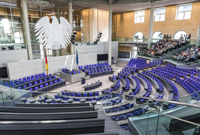 Plenary Hall of German Parliament Bundestag in Berlin royalty free stock photo