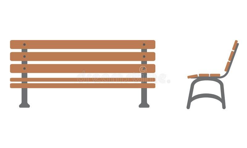 Plenerowa ławki ikona z frontowym i bocznym widokiem royalty ilustracja