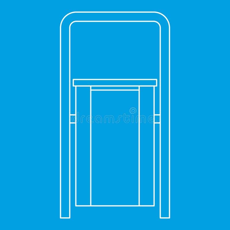Plenerowa ściółka jałowego kosza ikona, konturu styl ilustracja wektor