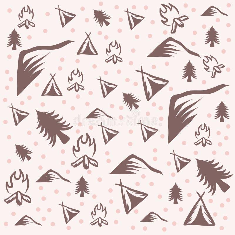 Plenerowa campingu wzoru wektoru ilustracja royalty ilustracja