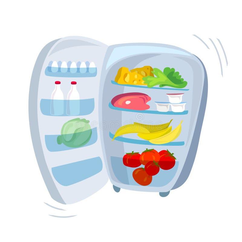 Plenerowa chłodziarka z jedzeniem ilustracja wektor