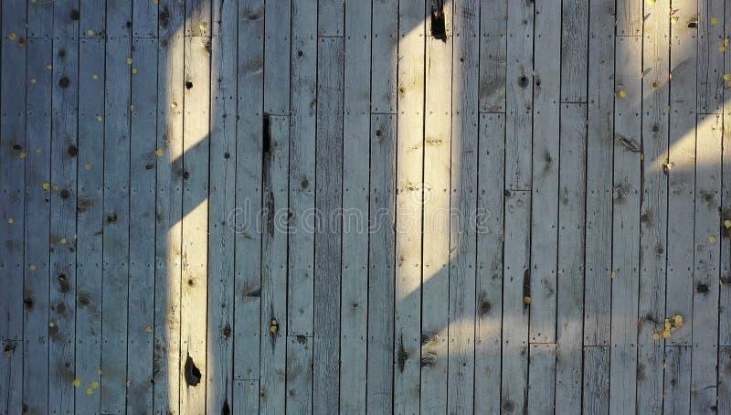 Plenerowa drewniana podłoga z liśćmi obraz stock