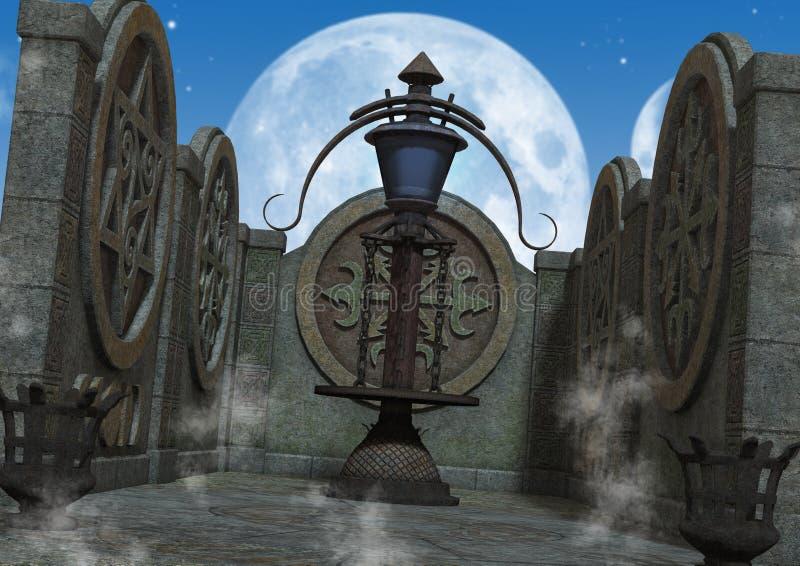 Plenerowa fantazja, mistyczna świątynia/ ilustracji