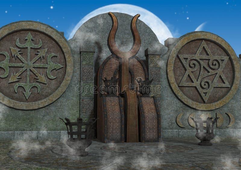 Plenerowa fantazja, mistyczna świątynia/ ilustracja wektor