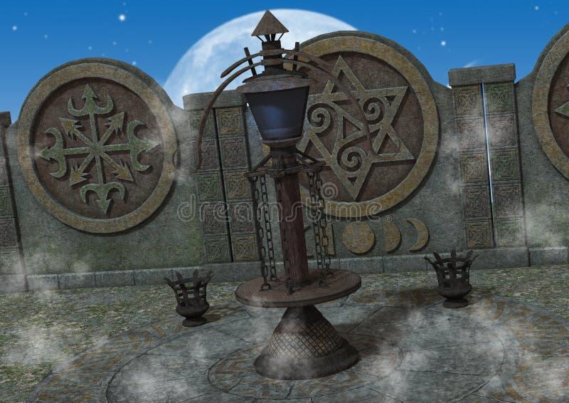 Plenerowa fantazja, mistyczna świątynia/ royalty ilustracja