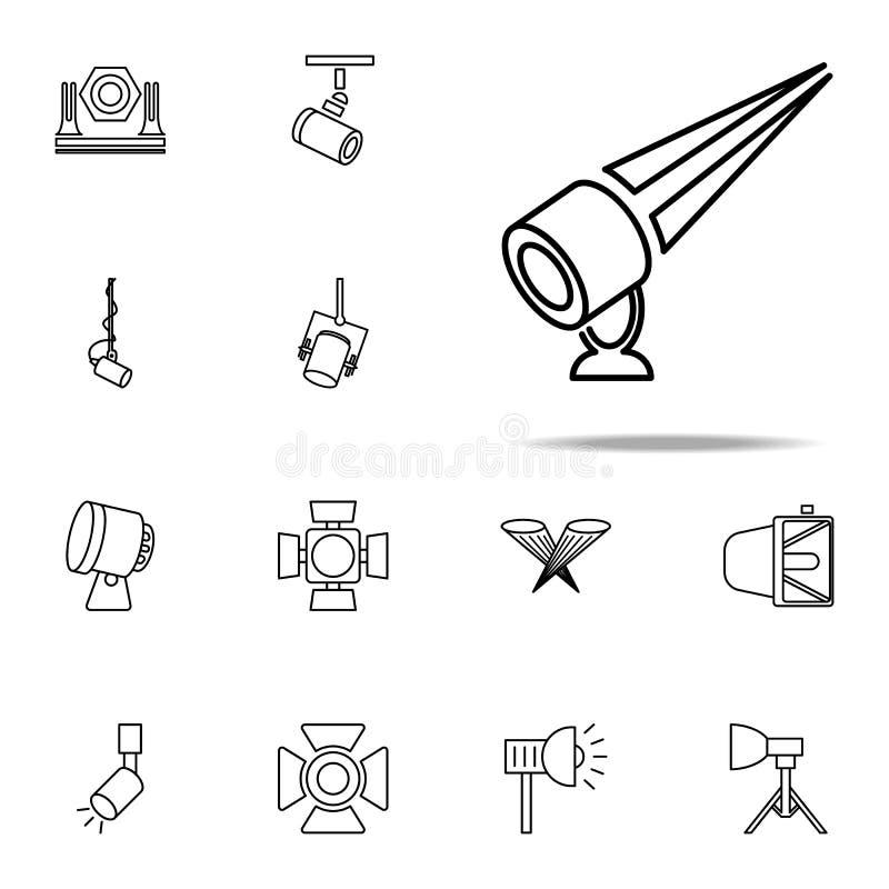 plenerowa floodlight ikona Światło reflektorów ikon ogólnoludzki ustawiający dla sieci i wiszącej ozdoby ilustracji