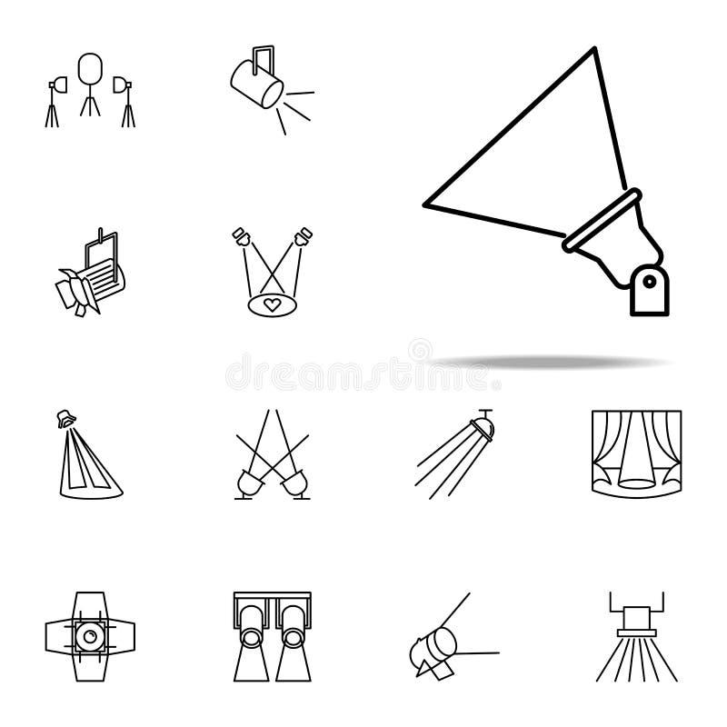 plenerowa floodlight ikona Światło reflektorów ikon ogólnoludzki ustawiający dla sieci i wiszącej ozdoby royalty ilustracja