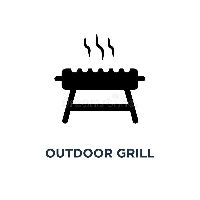 Plenerowa grill ikona Prosta element ilustracja Plenerowy grill c ilustracji