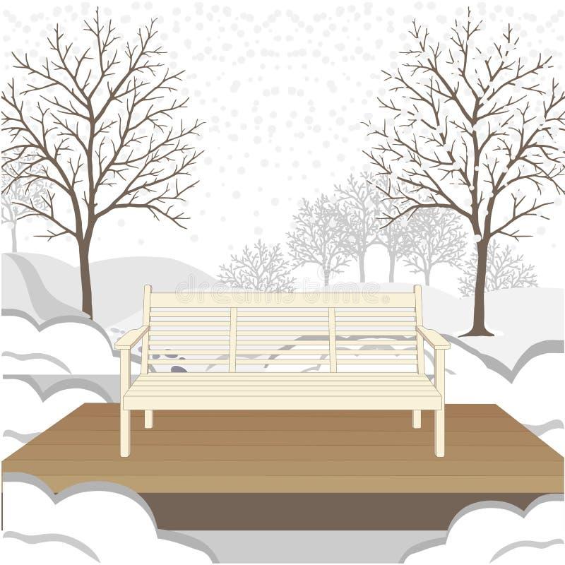 Plenerowa klasyczna ławka na drewnianej platformie również zwrócić corel ilustracji wektora ilustracja wektor