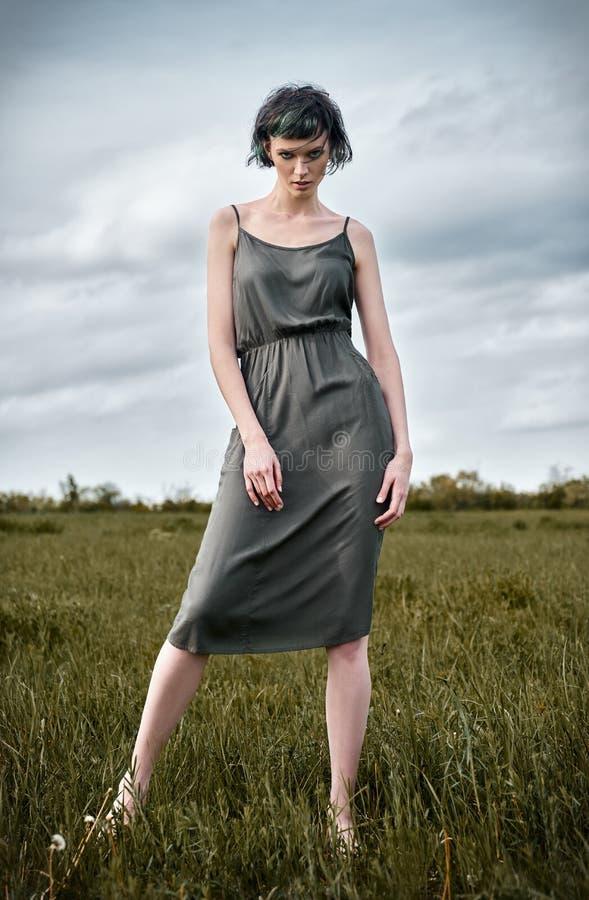 Plenerowa moda strzelająca: piękna dziewczyna w polu Portret urocza młoda kobieta w sukni fotografia royalty free