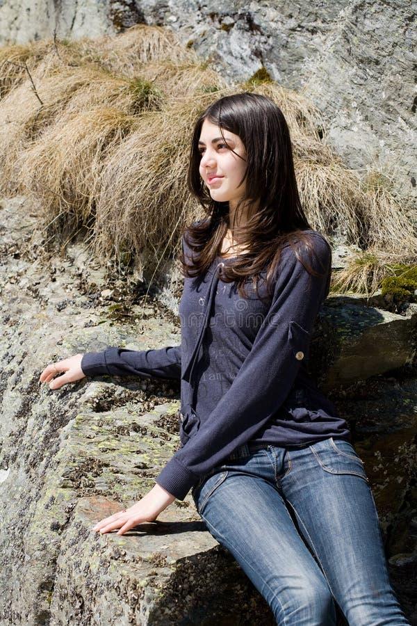 plenerowa piękna brunetka obrazy stock