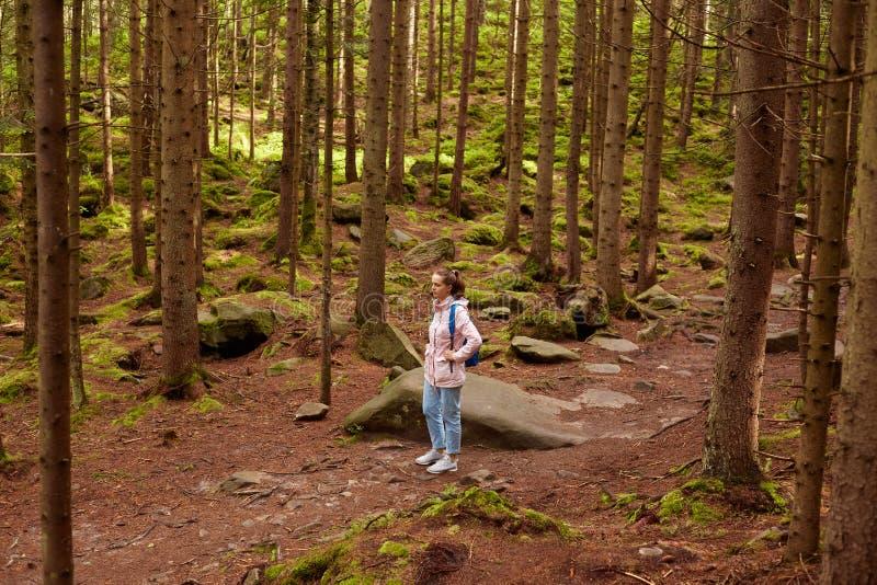 Plenerowa strzału og młoda dziewczyna chodzi samotnie w lesie, kobieta w ight kurtki spacerach szczęśliwie, być wśród drzew, podo zdjęcie royalty free