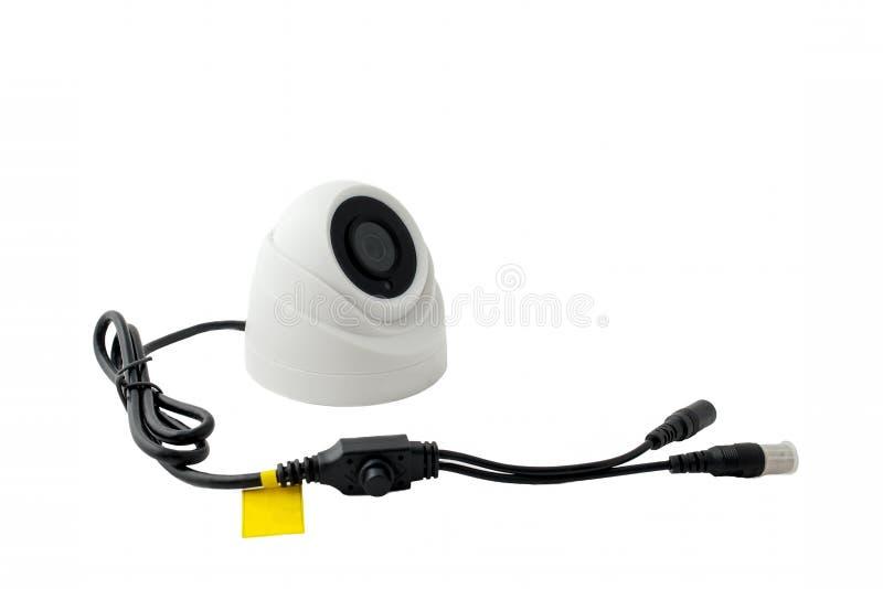 Plenerowa wideo inwigilaci kamera, odizolowywa na białym tle Przestrzeń dla teksta obraz royalty free