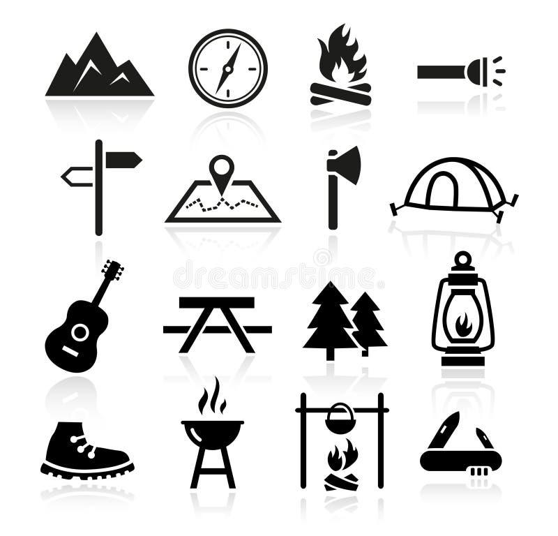 Plenerowe Campingowe ikony royalty ilustracja