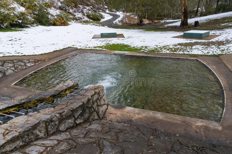 Plenerowy basen z zima śniegiem i krajobrazem obraz royalty free