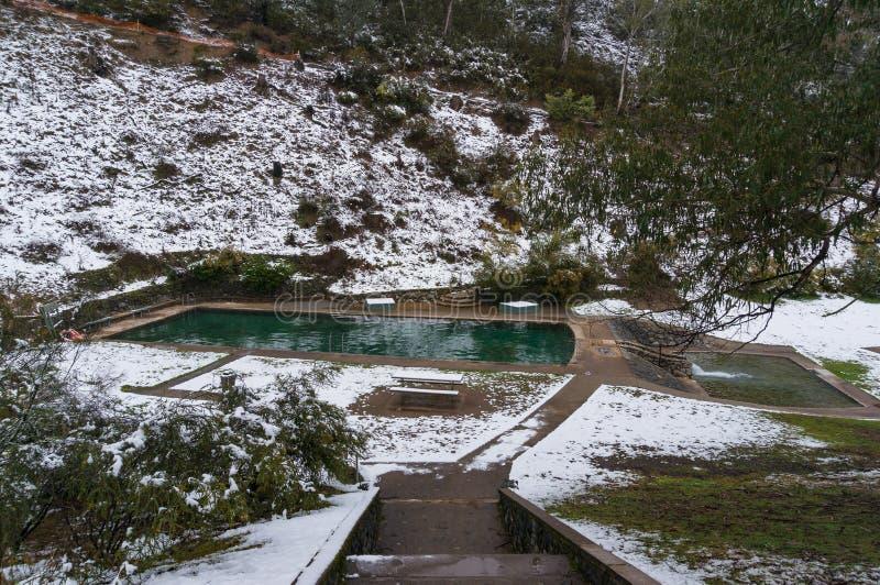 Plenerowy basen z zima śniegiem i krajobrazem obrazy stock
