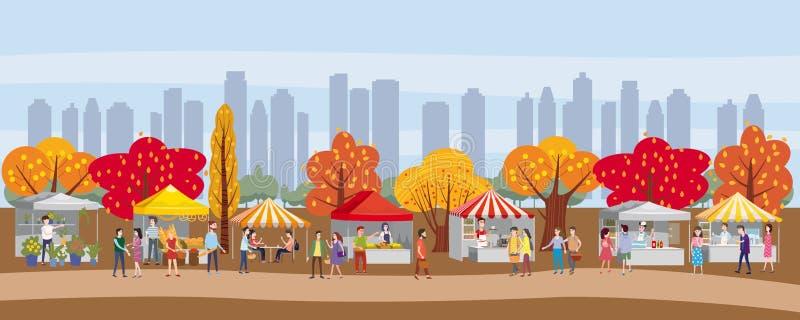Plenerowy festiwal z jedzeniem przewozi samochodem, markizy, namioty, lody, kawa, hot dog, kwiaty, piekarnia, chodzi ludzi, mężcz royalty ilustracja