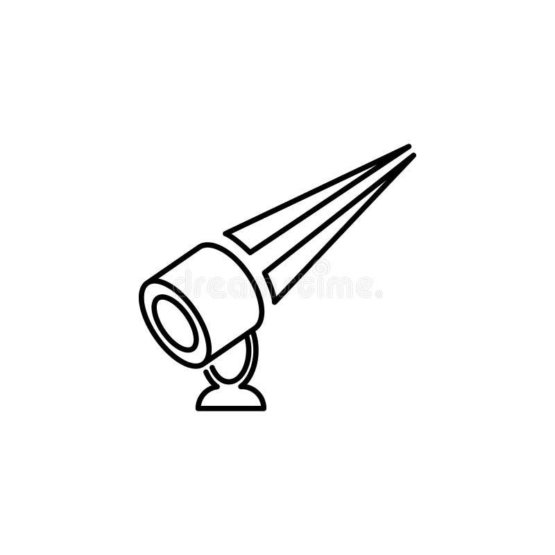 plenerowy floodlight Element akcydensowa oświetleniowa ikona dla mobilnych pojęcia i sieci apps Cienki kreskowy plenerowy floodli ilustracja wektor