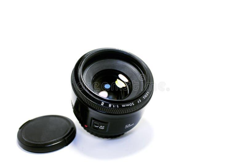 Plenerowy kamera obiektyw na białym tle obrazy royalty free