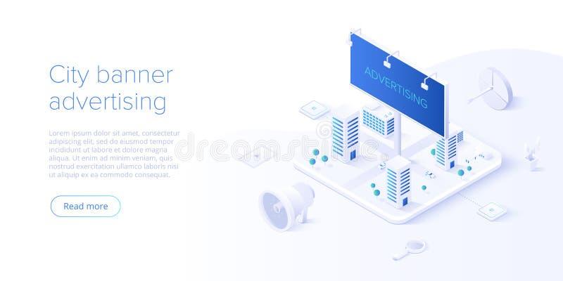 Plenerowy kampanii reklamowej pojęcie w isometric wektorowym projekcie Autonomiczny lub zakłócenie marketing z ilustracja wektor