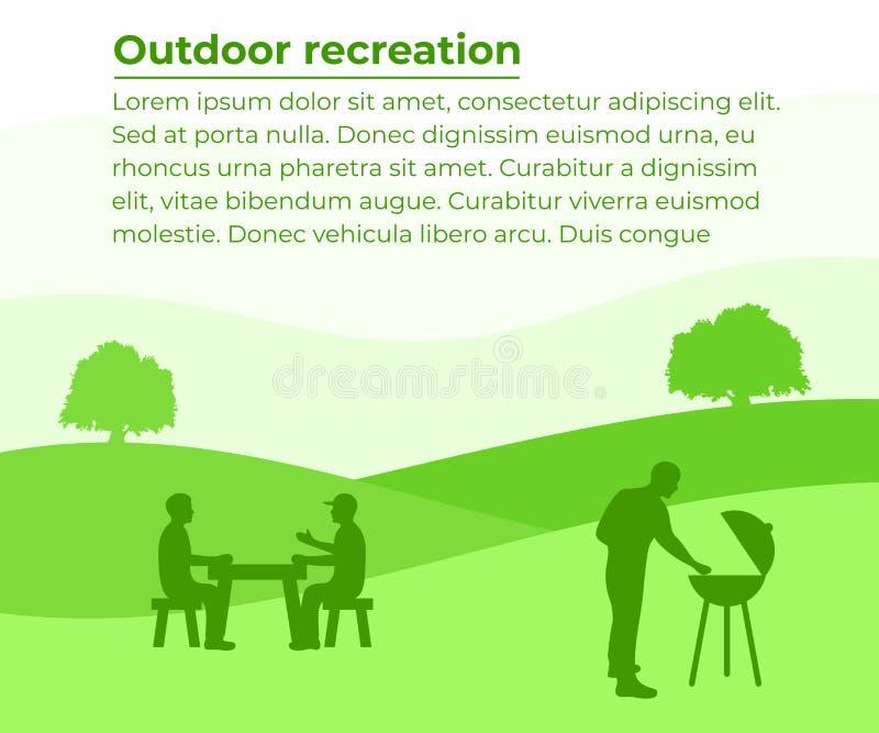 Plenerowy odtwarzanie, grill i grill, sztandar z twój tekstem Grupa ludzi odpoczywa na naturze, wektorowy projekt royalty ilustracja