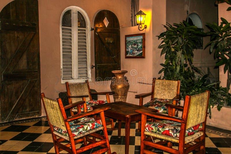 Plenerowy patio w Roi Du Christophe Hotel w nakrętce Haitien, Haiti zdjęcia royalty free