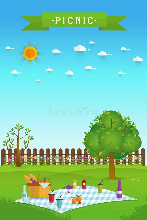 Plenerowy pinkin w ogródzie ilustracji