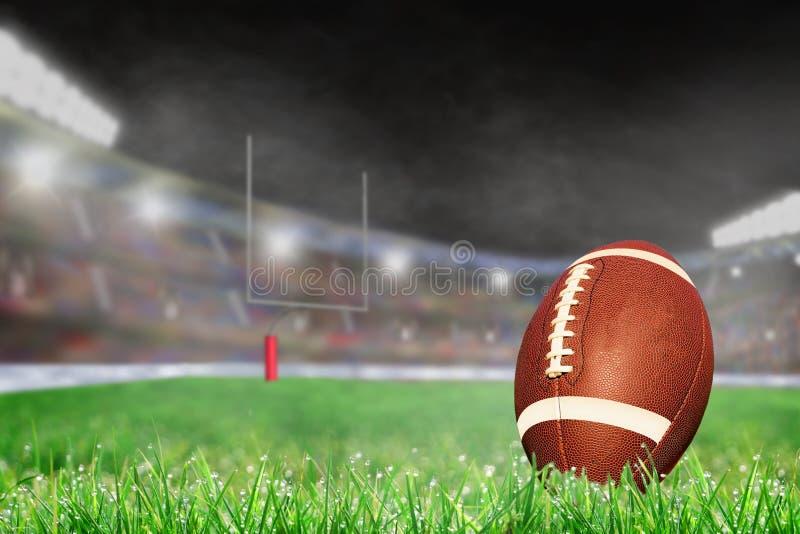 Plenerowy stadion futbolowy Z piłką na trawy i kopii przestrzeni obrazy royalty free