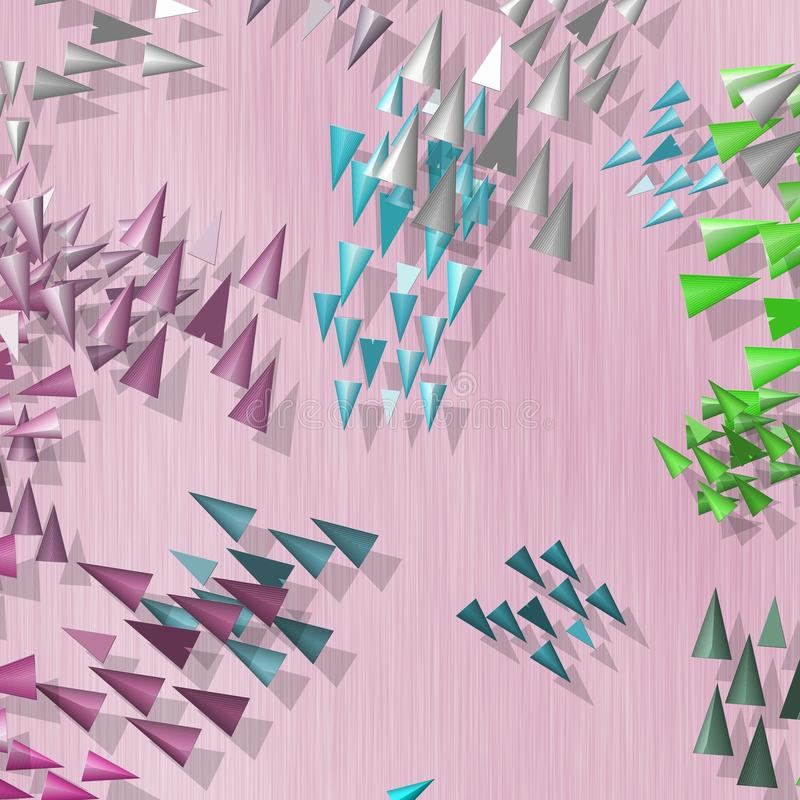Plenty of colored spikes scattered on pink background. Plenty of colored spikes scattered on pink textured background vector illustration
